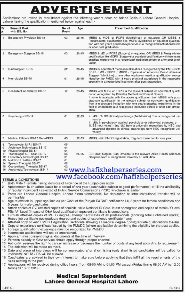 Jobs at Lahore general hospital, Lahore(Doctors, Physiotherapist,Psychologist & Allied health)