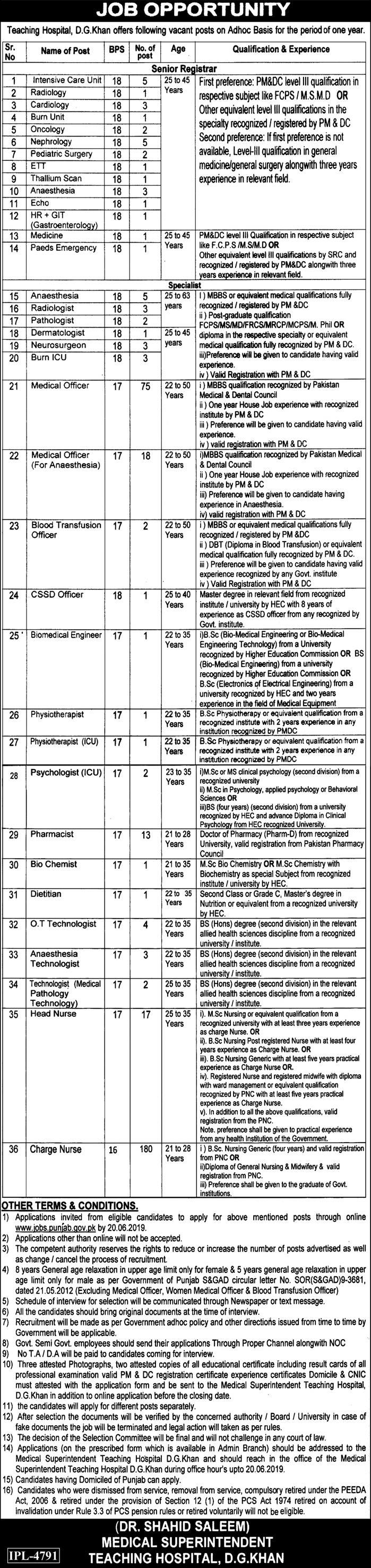 Jobs in District Headquarters Hospital Dera Ghazi (DG Khan) 30 May 2019