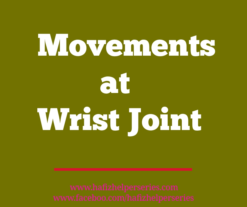 Movements At Wrist Joint According to Axis and Plane