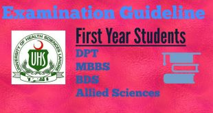 Examination Guidelines on the day of paper at UHS for DPT, MBBS,BDS & Allied Sciences