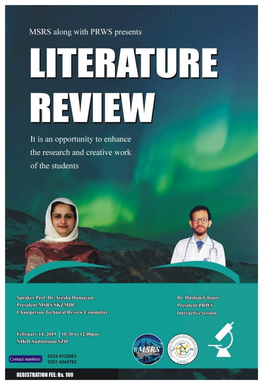 Certified Workshop on Literature Review at Sheikh Zayed medical College Lahore