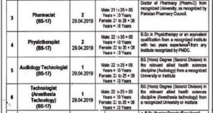 Job oppurtunity(Doctors, Physiotherapist, Pharmacist,technologist & Nurse) at Jinnah Hospital Lahore 2019
