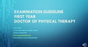 Examination Guideline for First Year Doctor of Physical Therapy at UHS