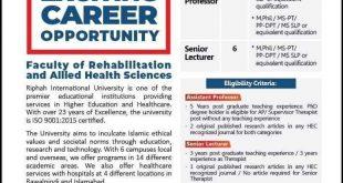 Jobs in Riphah International Unoversity (Physiotherapist)
