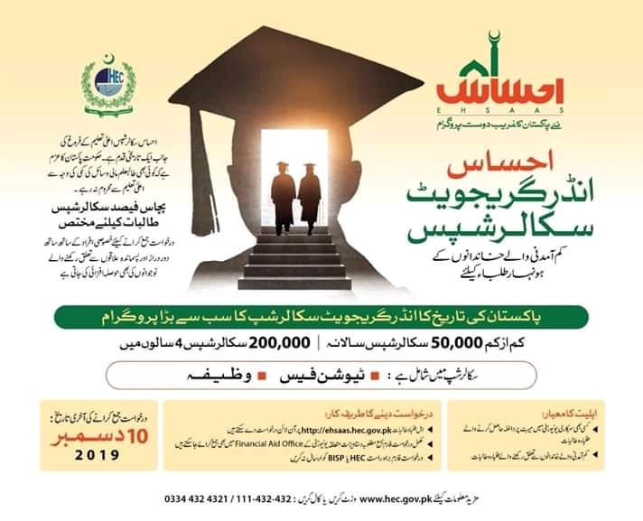 EHSAAS UNDERGRADUATE SCHOLARSHIPS 2020 by HEC Pakistan