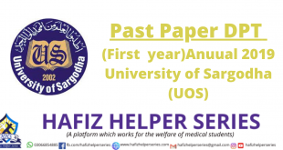 Past Paper DPT (First year)Anuual 2019 University of Sargodha (UOS)